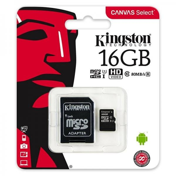 Cartão Micro SD Kingston 16GB Classe 10
